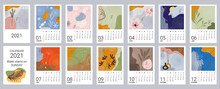 Calendar Template For 2021. Vertical Design With Abstract Natural Patterns. Editable Vector Illustration, Set Of 12 Months With Cover. Week Starts On Sunday.