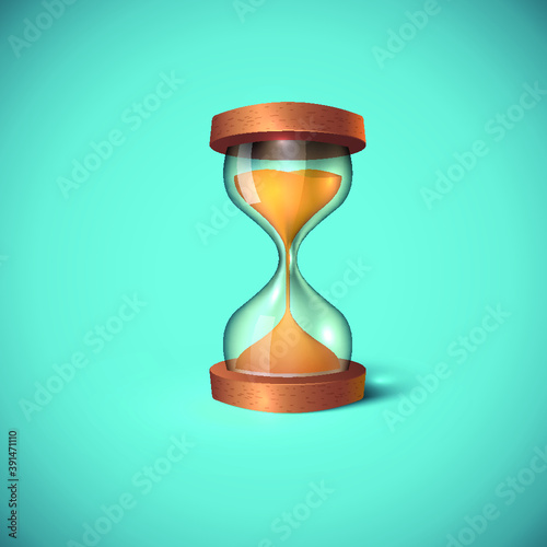 Fototapeta Transparent sand hourglass isolated on blue background. Sand clock icon 3d style vector illustration. Design for stickers, logo, web and mobile app. obraz
