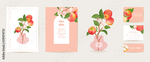 Apple invitation vector card. Wedding vintage botanical Save the Date set. Design template of fruits, flowers