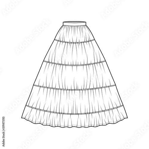 Obraz na plátně Skirt petticoat for gown technical fashion illustration with maxi floor length silhouette, circular fullness