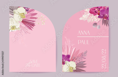 Fotografering Wedding tropical floral vector card, dry tropic flowers, dried palm leaves, pamp