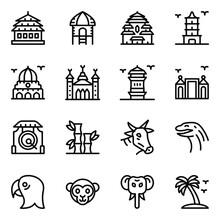 Indonesian Landmarks Glyph Icons Set