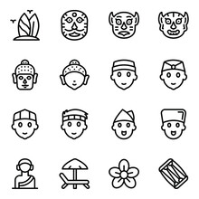 Indonesian Culture And Festival Masks Glyph Icons Set