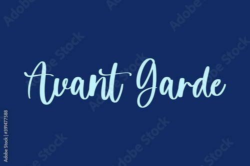Avant Garde Handwritten Font Cyan Color Text On Navy Blue Background Fototapet