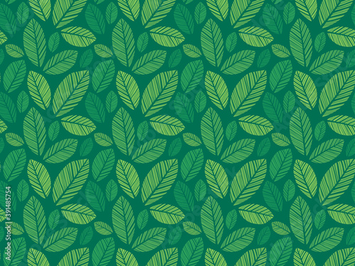 Papel de parede Leaves Pattern - Endless Background - Seamless