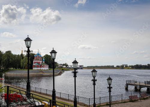 Uglich. The Volga River Embankment. A slender row of beautiful lanterns. Rhythm. Prospect