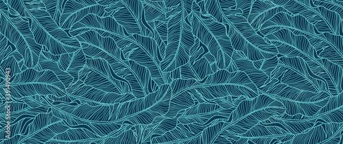 Tropical leaf Wallpaper, Luxury nature leaves pattern design, blue banana leaf line arts, Hand drawn outline design for fabric , print, cover, banner and invitation, Vector illustration.
