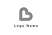 Letter B Logo With Love Shape For Your Brand Identity, Striped Style Concept Design Vector Graphic