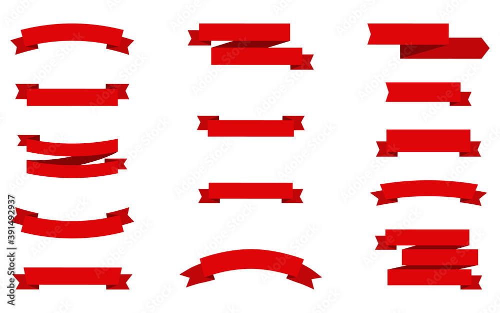 Fototapeta Ribbons Banners. Red Ribbons Banners, isolated. Collection Christmas Red Ribbons in trendy flat design. Empty Banner. Vector illustration