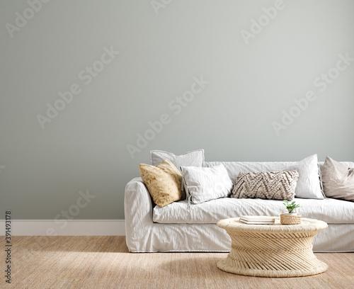 Fototapeta Coastal interior background, wall mock up, 3d render