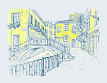 Hand Drawn Sketch Vector Illustration Of The Streets Of Venice, Italy. Water Channel With A Bridge. Romantic Color Cityscape On Tne Gray Background.