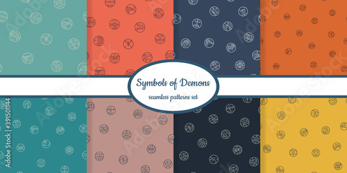 Cuadros en Lienzo Collection of seamless patterns with symbols of demons designed for web, fabric,