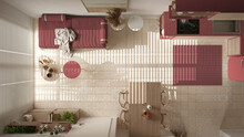Cosy Wooden Sustainable Living Room And Kitchen In Red Tones. Sofa, Shelves, Dining Table, Chairs. Ceramic Tiles Floor. Environmental Friendly Interior Design, Top View, Plan, Above