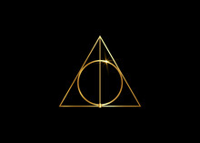 Gold Sacred Magic Geometry , Occult Symbol , Vector Isolated On Black Background