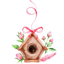 Birdhouse With Flowers, Pink Feather And Ribbon; Watercolor Hand Draw Illustration; With White Isolated Background
