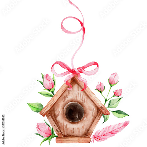 Canvas-taulu Birdhouse with flowers, pink feather and ribbon; watercolor hand draw illustrati