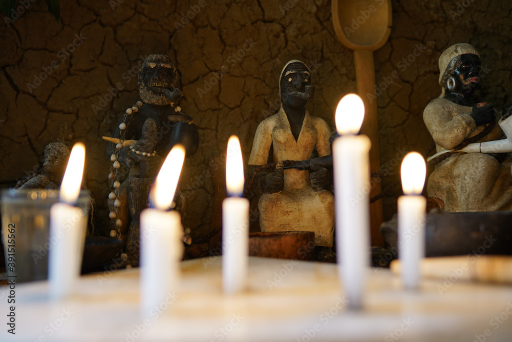 Fototapeta Umbanda center (Afro-Brazilian religion) known as Ilê. Partisan faithful of rituals. On this date, a day of old black people was being celebrated. Umbanda is an Afro Brazilian religion.
