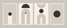 Abstract Geometric Line Poster Set. Mid Century Art Print For Wall Decor Minimalist Vintage Painting 50s Style. Vector Postcard Illustration
