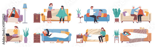 Canvas Collection of ill or sick and recovered people on sofa or couch at home