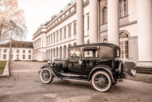 Oldtimer Old Antique Ford Typ A Tudor Sedan, Built At Year 1928 During A Wedding Decorated