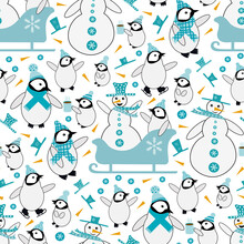 Snowman And Baby Penguin Sledging And Iceskating Seamless Vector Pattern Background. Blue White Orange Backdrop With Snowmen, Small Penguins, Sledges, Hot Drinks, Carrots. Funky Winter Activity Scene