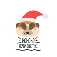 Cute Funny Face Of A Meerkat In A Santa Hat With The Inscription Merry Christmas. Vector Flat Style On A White Background