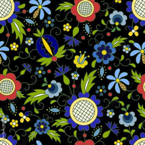 Fototapety wzory ludowe  traditional-modern-polish-kashubian-floral-folk-pattern-vector-wzor-kaszubski-wzory