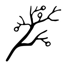 Hand Drawn Tree Branch With Leaves Painted By Ink