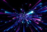 Fototapeta Perspektywa 3d - Abstract background in blue and purple neon glow colors. Speed of light in galaxy. Explosion in universe. Cosmic background for event, party, carnival, celebration or other. 3D rendering.