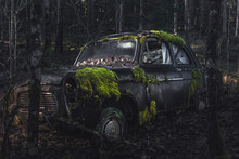 Old British Car Abandoned In A Forest In Sweden