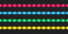 Realistic LED Strip Set. Colorful Glowing Illuminated Tape Decoration