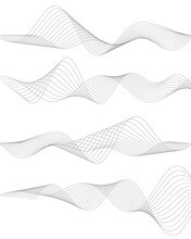 Design Elements. Wave Of Many Gray Lines. Abstract Wavy Stripes On White Background Isolated