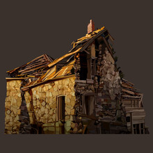 Cartoon Dilapidated Hut Of Yellow Stone And Wooden Roof