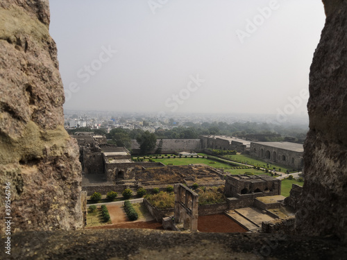 Obraz na plátně Beautiful aerial view of Golconda fort in Hyderabad, India