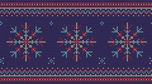 Nordic Knitted Sweater Seamless Pattern. Christmas Jumper Knitwear Ornament. Vector Illustration.