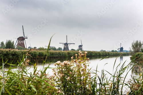 Overwaard windmills and in the distance, the Blokweer polder windmill, Kinderdij Fototapeta
