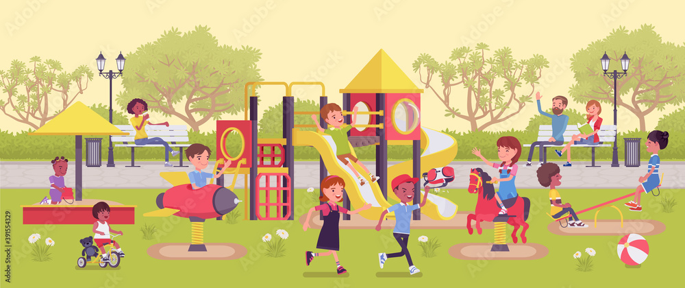 Fototapeta Kids playing in the playground, fun and leisure outside. Physically active happy children spend free time in park or recreation area, playtime family fun. Vector flat style cartoon illustration