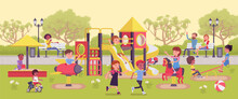 Kids Playing In The Playground, Fun And Leisure Outside. Physically Active Happy Children Spend Free Time In Park Or Recreation Area, Playtime Family Fun. Vector Flat Style Cartoon Illustration