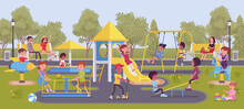 Happy Kids Playing In Playground, Leisure Outside. Excited Boys And Girls, Active Children Share Fun With Friends, Outdoor Bright Park Equipment For Recreation. Vector Flat Style Cartoon Illustration