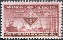 USA - Circa 1951 : A Postage Stamp Printed In The US Showing  Several Instruments Related To Chemical Work, Including An Alembic, Hydrometer, And Ionization Indicator. Text: American Chemical Society