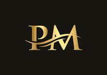 Creative And Minimalist Letter PM Logo Design With Water Wave Concept.