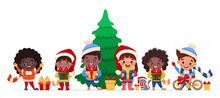 Happy Children From Different Countries And Nations Celebrating Christmas And New Year Holding Gifts In Their Hands. Cute Cartoon Kids Characters And Cat. Vector Flat Illustration