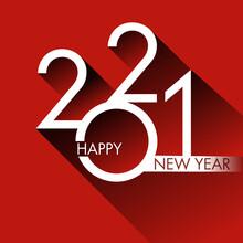 Carte De Vœux Design Pour 2021, Avec Un Graphisme Moderne Et Original Sur Un Fond Rouge, Pour Annoncer Les Projets Et Les Orientations De L'entreprise Pour Nouvelle Année.