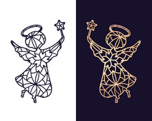 Little Angel With A Star. Openwork Carved Stencil For Cutting Out Of Paper Or On A Plotter.