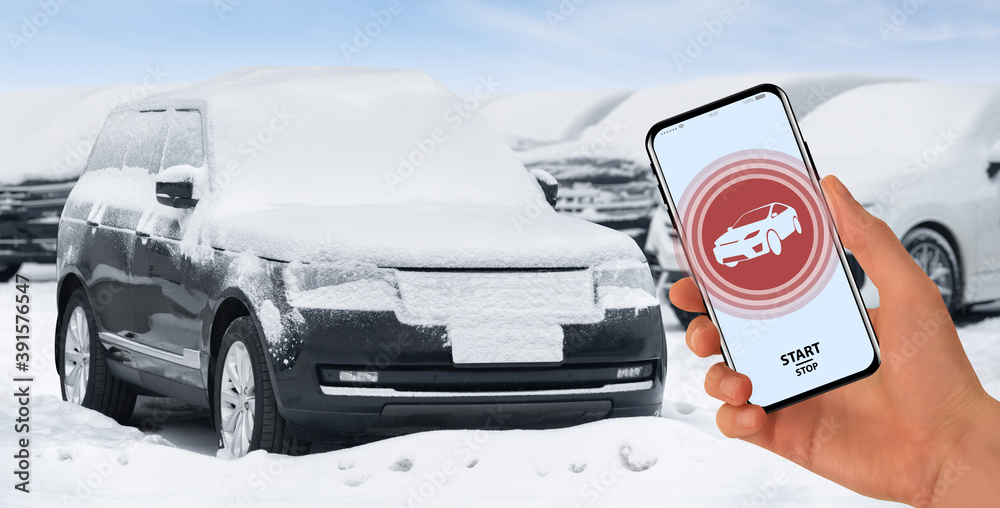 Fototapeta Application for remote engine start and car warm-up