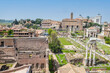 aerial panoramic view of the ruins of the Roman Forum