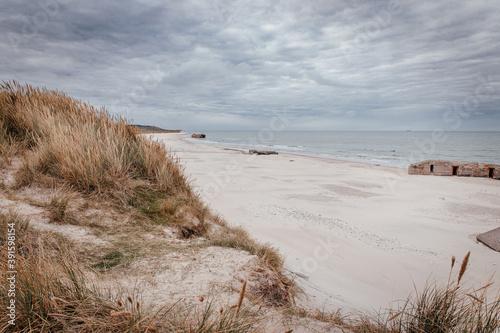 Fototapety, obrazy: Küste an der Nordsee in Dänemark mit Bunkeranlage