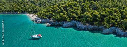 Fényképezés Aerial drone ultra wide panoramic photo of famous turquoise pebble beach of Kast