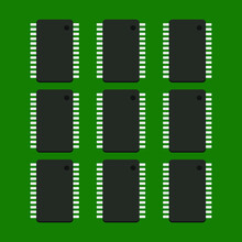 Integrated Circuit On Dark Green Background,Electronic Chip On Dark Green Background 3D Illustration Eps-10.