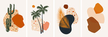 Collection Of Contemporary Abstract Art Posters. Paper Cut Abstract Floral Collages. Design For Social Media, Wallpapers, Postcards, Prints, Romance.